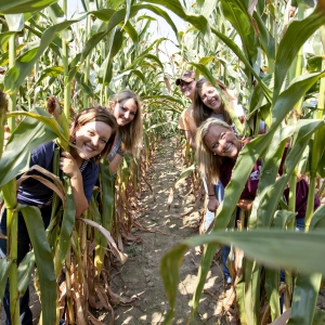Students pose between corn rows, 2011 Fall Field Day