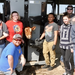 A group of EKU agriculture students in the new beef handling facility